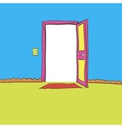 Open the door wide open light output and input vector image vector image
