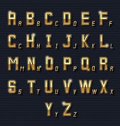 Retro golden alphabet vector