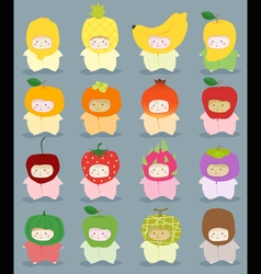 Set of kids in cute fruit costumes vector image
