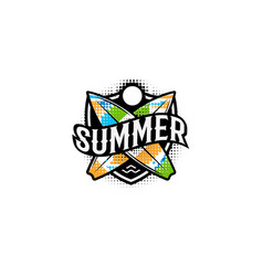 summer colorful modern logo in a sports style 2 vector image