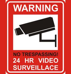 warning sticker for security alarm cctv camera vector image vector image
