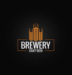 beer logo design brewery label on black vector image vector image