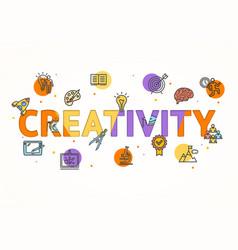 cartoon creativity concept card poster vector image vector image