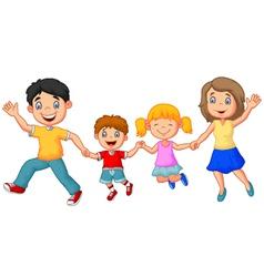 Cartoon happy family waving hands vector image vector image