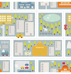 Cartoon map seamless pattern of winter city vector image