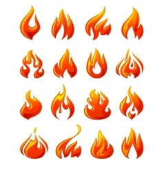 Fire flames set 3d red icons vector image vector image