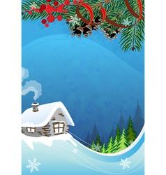 Rural winter landscape vector image