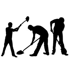 set of people with shovels vector image vector image