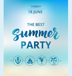 Summer party text typography with brush lettering vector