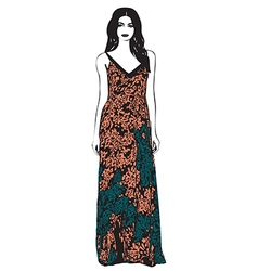 Beautiful young women in a fashion long dress vector image
