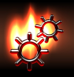 Couple rotating gears in flames vector image vector image