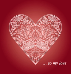 Floral and lace heart vector image