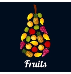 Fruits arranged in a pear shaped symbol vector image vector image