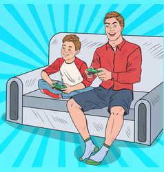 pop art dad and son playing video game vector image