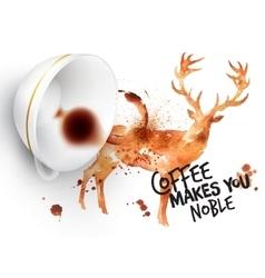 Poster wild coffee deer vector image vector image