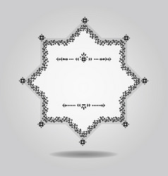 Black and white spring floral border blank star vector
