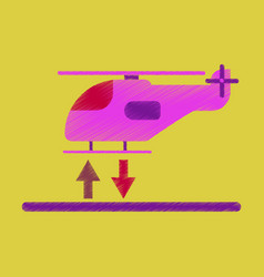 flat icon in shading style helicopter landing vector image