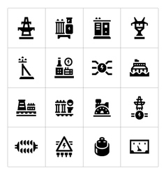 Set icons of power industry vector image vector image