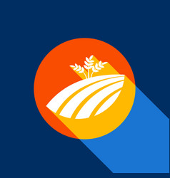 wheat field sign white icon on tangelo vector image