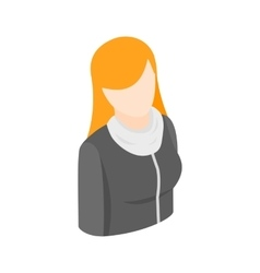 Woman with long red hair icon isometric 3d style vector image