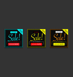 3 cool banner for social network sale only this vector image
