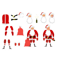 A tired santa claus set for animation hands legs vector