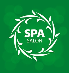Abstract logo for a spa on a green background vector