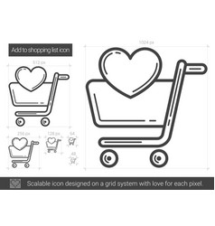 Add to shopping list line icon vector