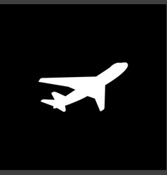 Airplane flat icon on black background black style vector