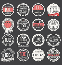 Anniversary retro label collection 100 years vector