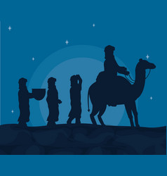 Arabs with camels vector