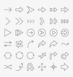 arrow line icons set vector image