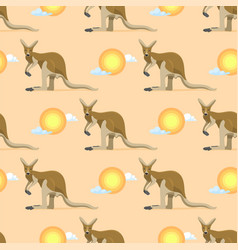 australian animal kangaroo seamless pattern vector image