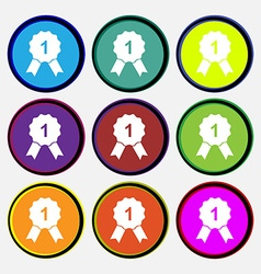 Award medal icon sign Nine multi colored round vector