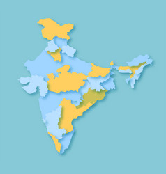 Basic rgb map of india colorful state wise for in vector