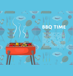 Bbq time poster with charcoal grills vector