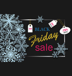 black friday banner design with blue snowflakes vector image