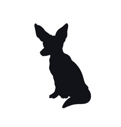 black silhouette african fenech fox vector image