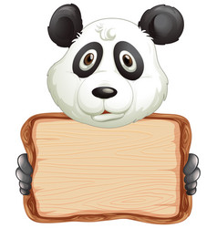 Board template with cute panda on white background vector