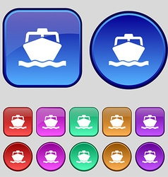 Boat icon sign a set of twelve vintage buttons for vector