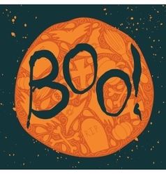 Boo halloween poster with black lettering vector