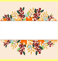 Border with oranges berries and branches vector