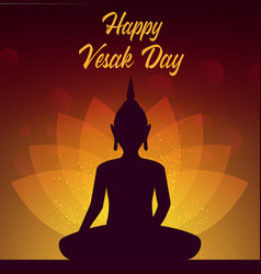 Buddha with lotus vesak day holiday buddhism vector
