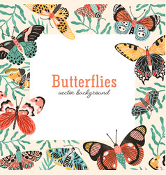 butterflies square background flat vector image
