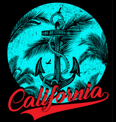 California - concept in vintage graphic style for vector