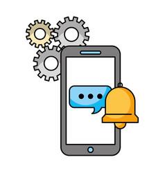 Call center smartphone speech bubble bell support vector