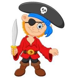 Cartoon captain pirate holding a sword vector