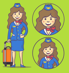 cartoon stewardess in uniform and with big bag vector image
