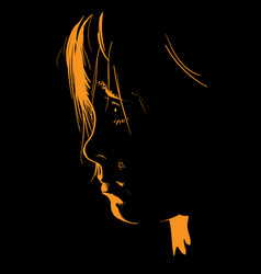 Child portrait in contrast backlight face vector