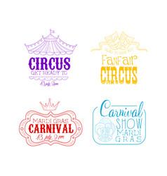 Circus and mardi gras carnival logos set hand vector